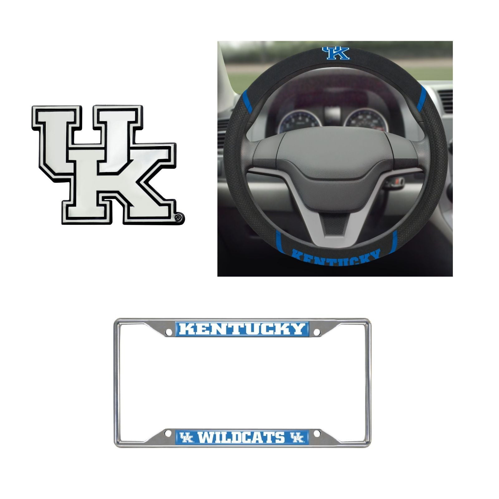 Kentucky Wildcats Steering Wheel Cover, License Plate Frame, 3D Chrome Emblem