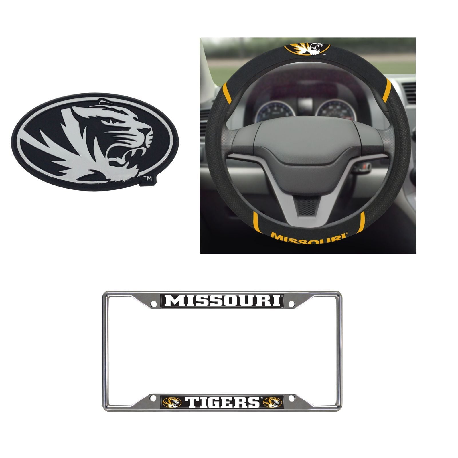 Missouri Tigers Steering Wheel Cover, License Plate Frame, 3D Chrome Emblem