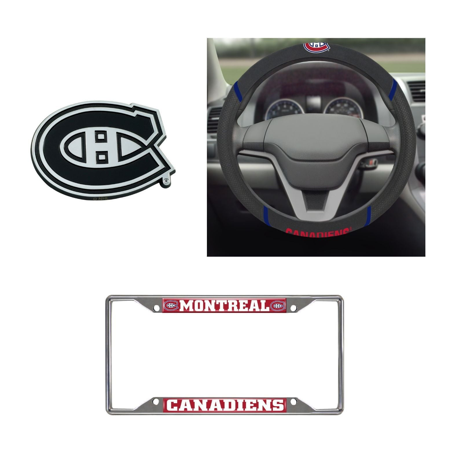 Montreal Canadiens Steering Wheel Cover, License Plate Frame, 3D Chrome Emblem