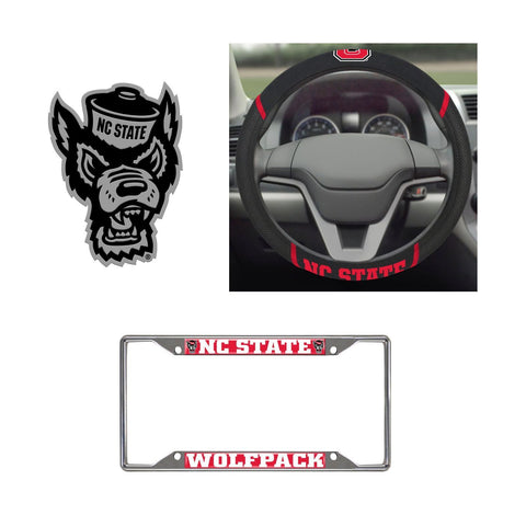 NC State Wolfpack Steering Wheel Cover, License Plate Frame, 3D Chrome Emblem