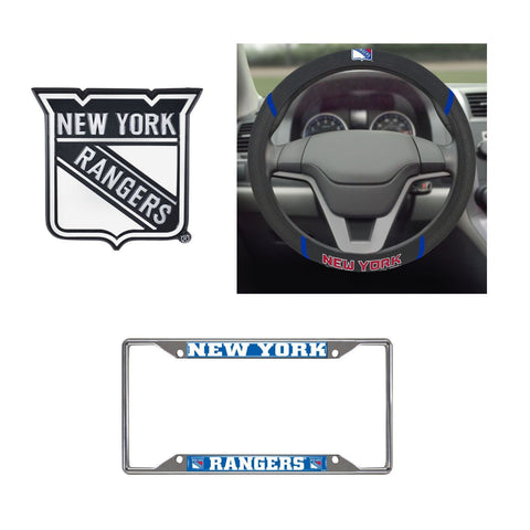 New York Rangers Steering Wheel Cover, License Plate Frame, 3D Chrome Emblem