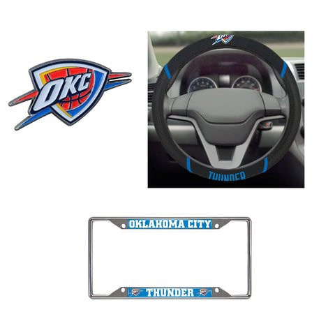 Oklahoma City Thunder Steering Wheel Cover, License Plate Frame, 3D Color Emblem