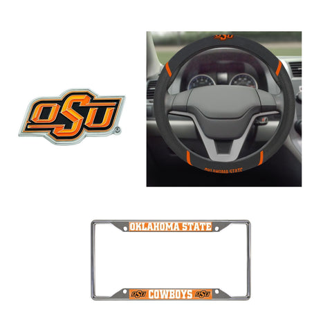 Oklahoma State Cowboys Steering Wheel Cover, License Plate Frame, 3D Color Emblem