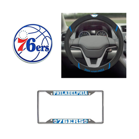 Philadelphia 76ers Steering Wheel Cover, License Plate Frame, 3D Color Emblem