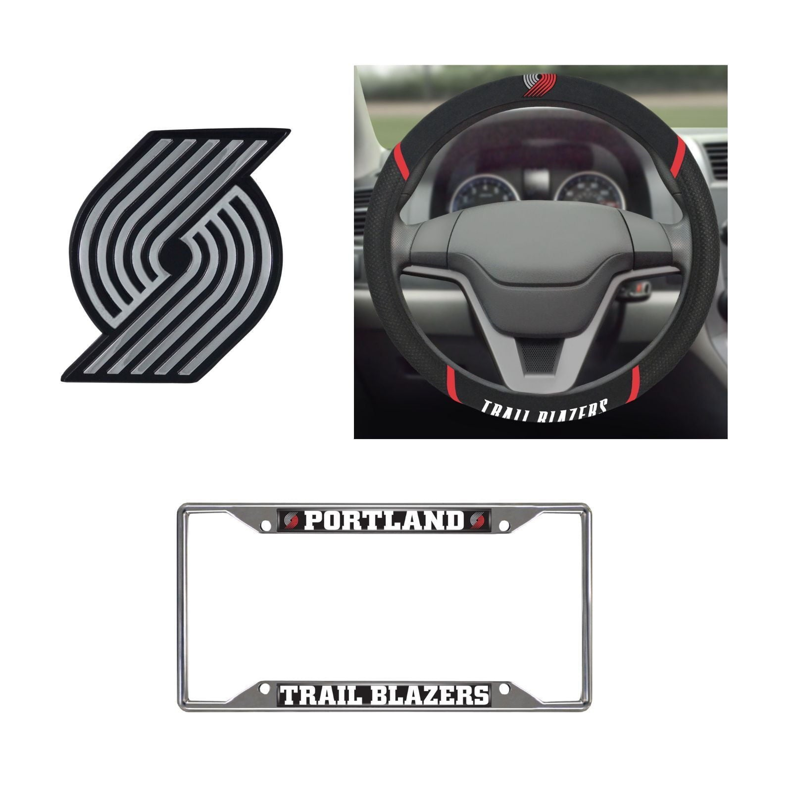 Portland Trail Blazers Steering Wheel Cover,License Plate Frame,3D Chrome Emblem