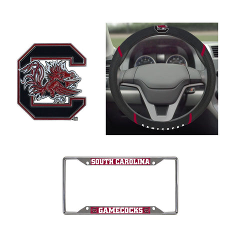 Gamecocks Steering Wheel Cover, License Plate Frame, 3D Color Emblem