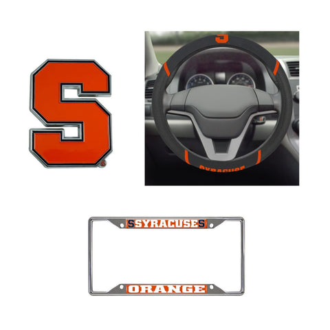 Syracuse Orange Steering Wheel Cover, License Plate Frame, 3D Color Emblem