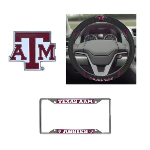Texas A&M Aggies Steering Wheel Cover, License Plate Frame, 3D Color Emblem