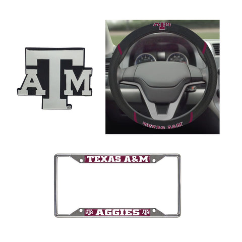 Texas A&M Aggies Steering Wheel Cover, License Plate Frame, 3D Chrome Emblem