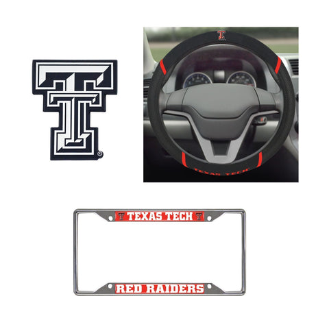 Texas Tech Red Raiders Steering Wheel Cover, License Plate Frame, 3D Chrome Emblem