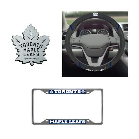 Toronto Maple Leafs Steering Wheel Cover, License Plate Frame, 3D Chrome Emblem