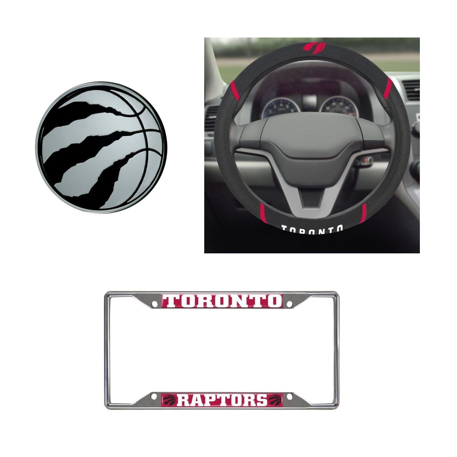 Toronto Raptors Steering Wheel Cover, License Plate Frame, 3D Chrome Emblem