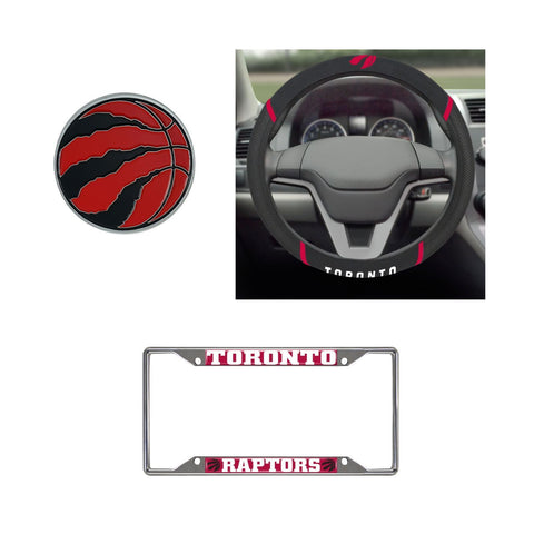 Toronto Raptors Steering Wheel Cover, License Plate Frame, 3D Color Emblem