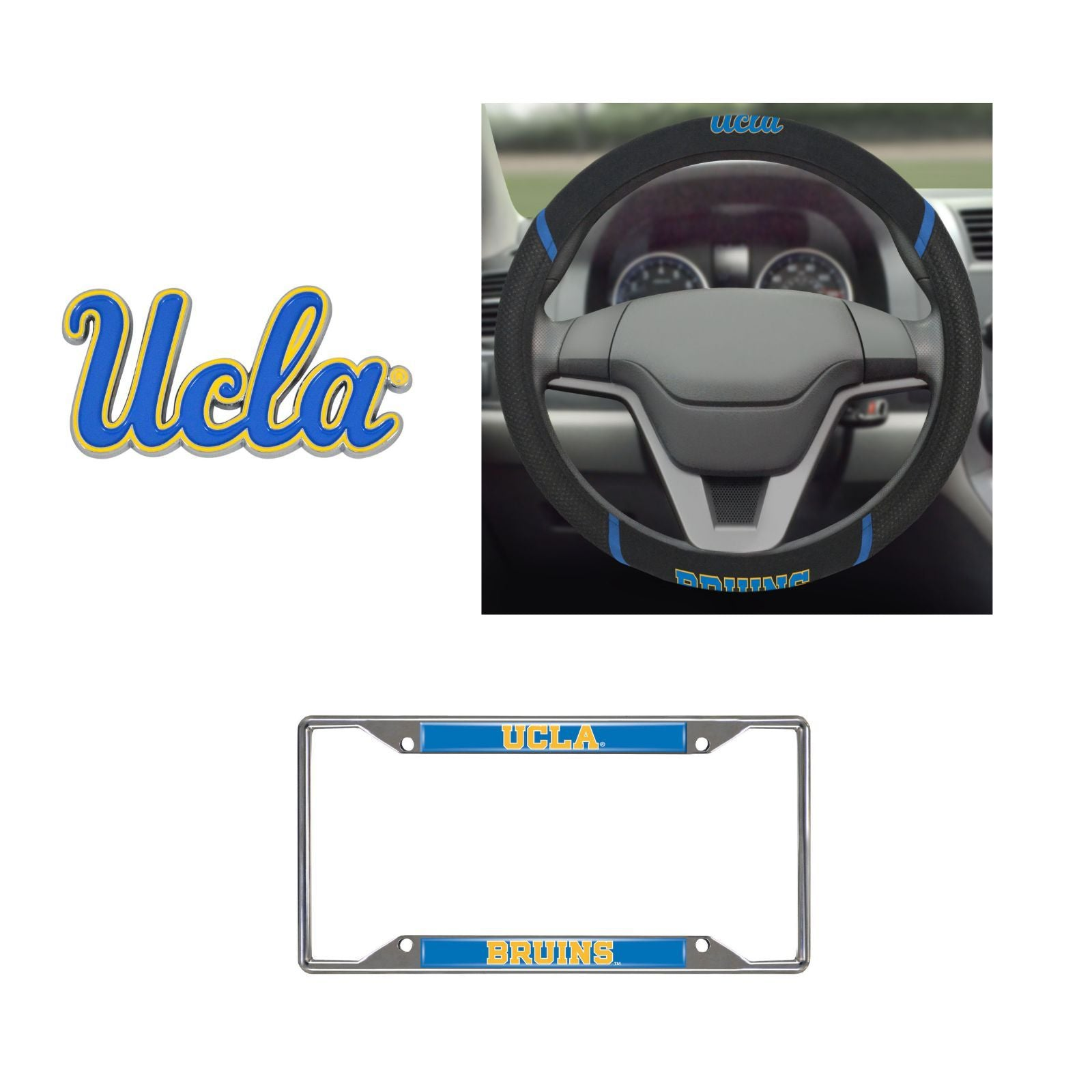 UCLA Bruins Steering Wheel Cover, License Plate Frame, 3D Color Emblem