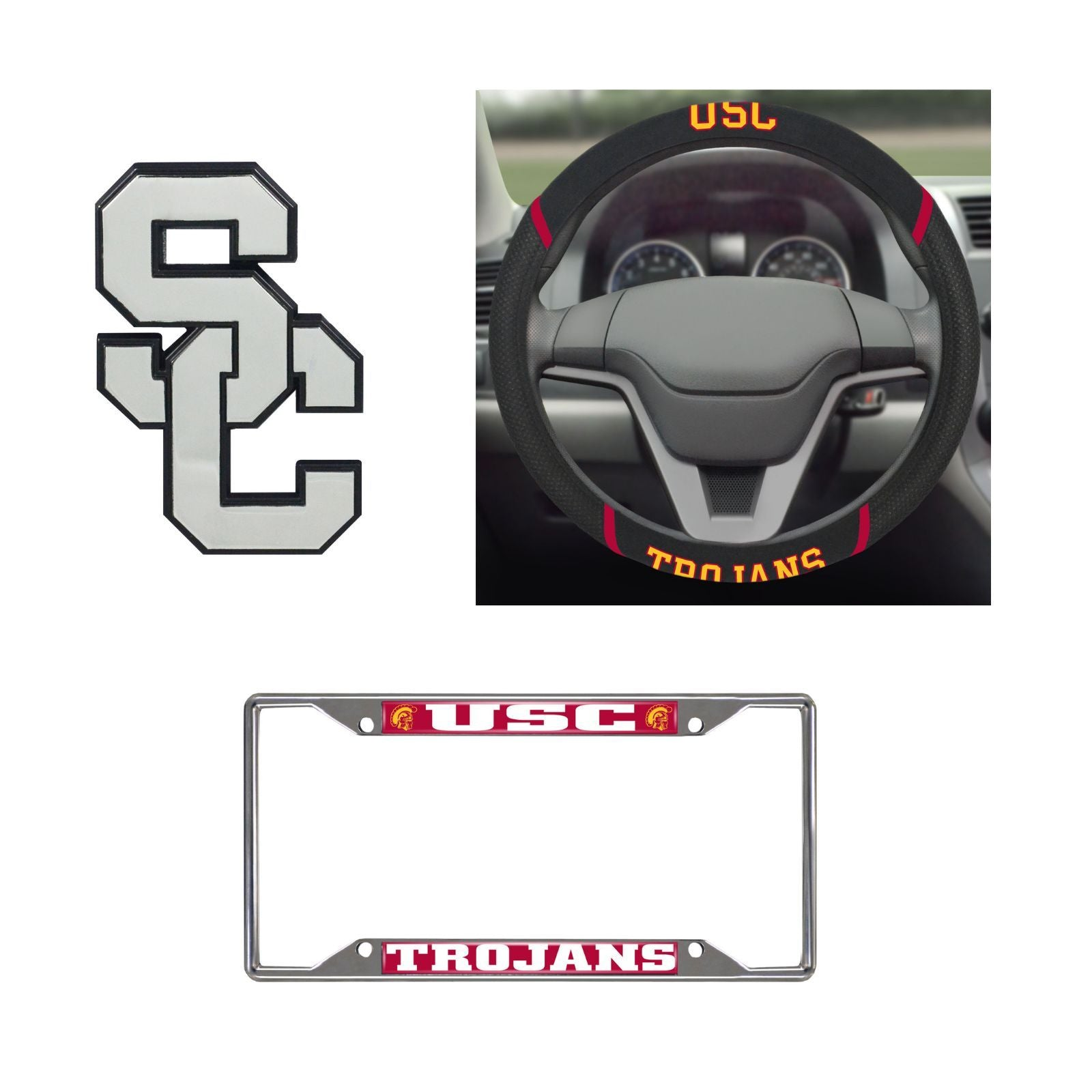 USC Trojans Steering Wheel Cover, License Plate Frame, 3D Chrome Emblem