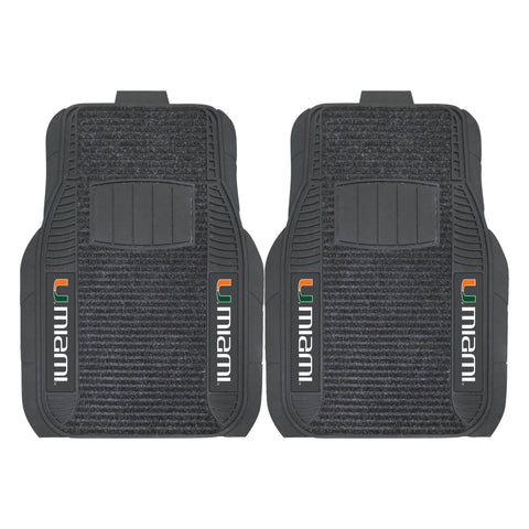 Miami Hurricanes Front (Vinyl/Carpet) & Rear (Vinyl) Car Floor Mats