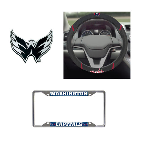 Washington Capitals Steering Wheel Cover, License Plate Frame, 3D Chrome Emblem