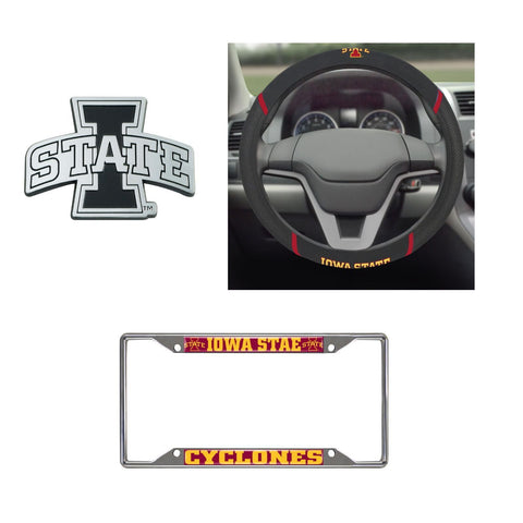 lowa State Cyclones Steering Wheel Cover, License Plate Frame, 3D Chrome Emblem