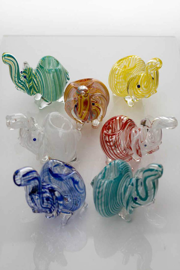 Small elephant glass hand pipe - One Wholesale