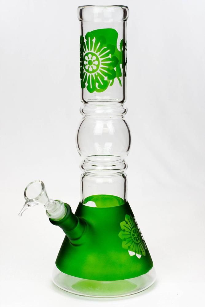 "12"" Dragon and flower graphic glass water bong"