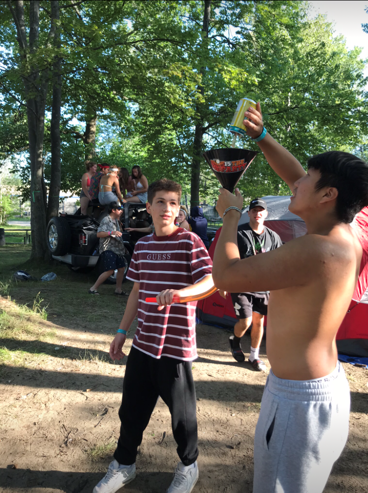 Beer Bong In Use