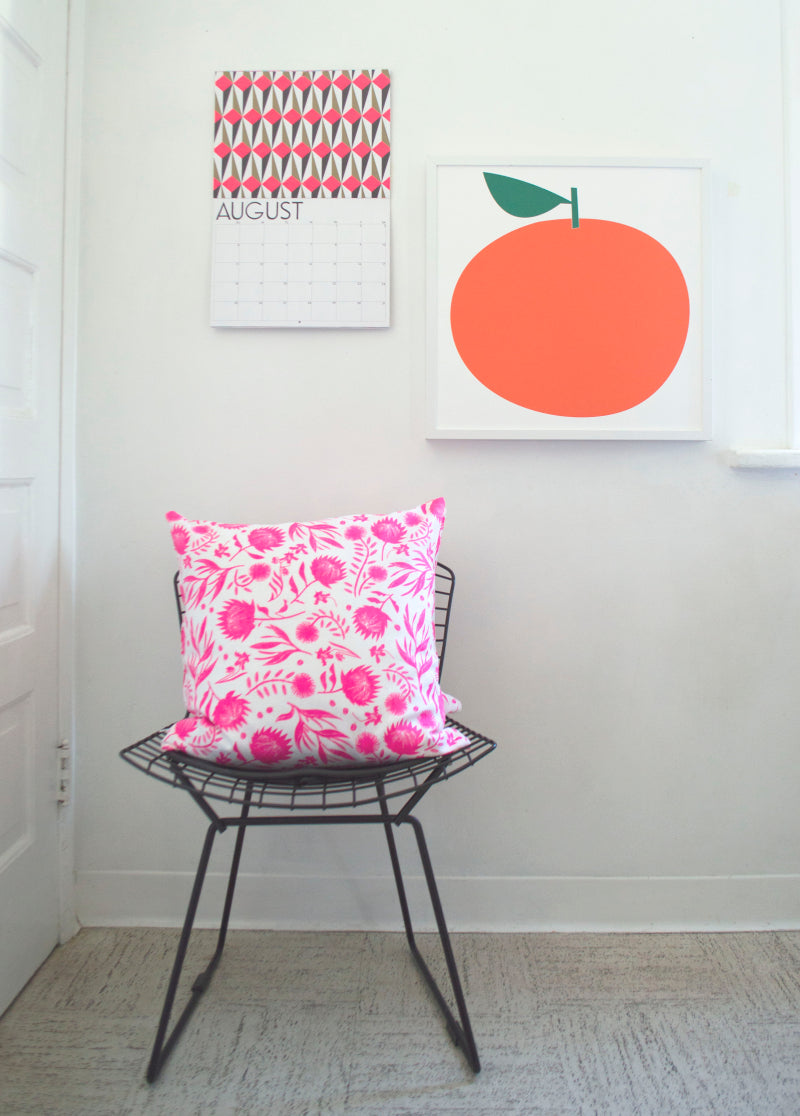 NEON PINK ON WHITE HOTHOUSE FLOWERS 100% LINEN PILLOW
