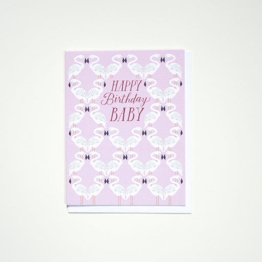 Happy Birthday Baby - Flamingo - Blank Note Card