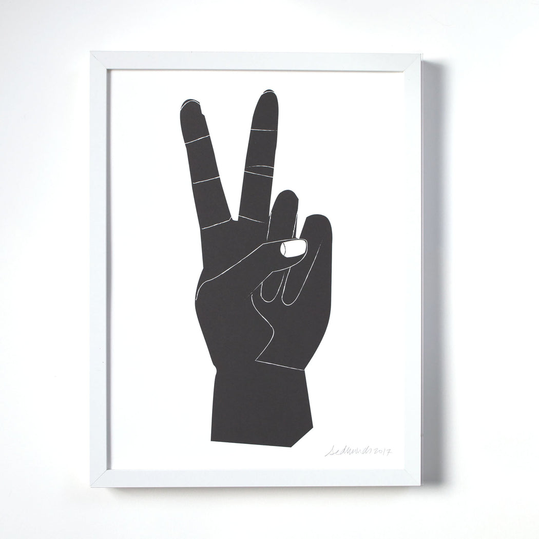 Peace Sign Art Print - Black and White Wall Art