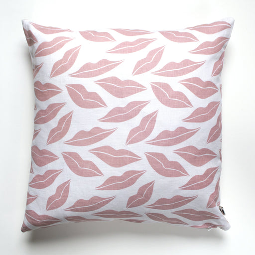 Pillow Cover - Blush Pink on White Linen