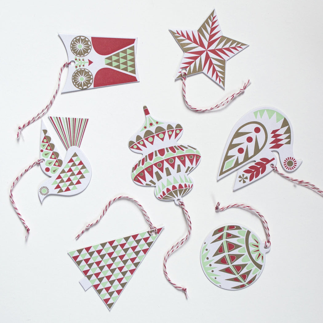 Christmas Ornament Garland Gift Tag Set in Mint, Red and Gold - set of 7 Letter Press
