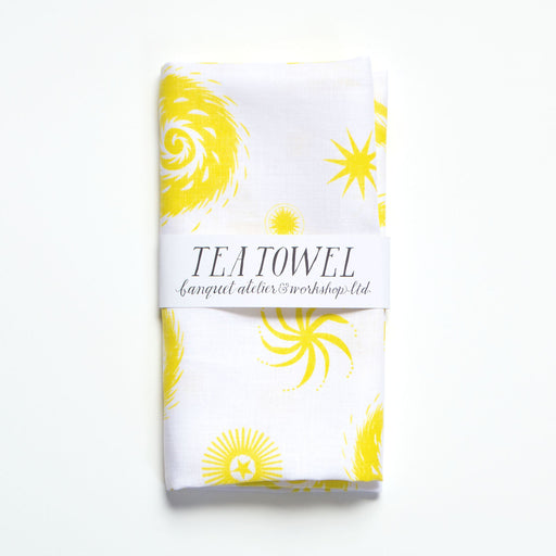 Yellow and White Fireworks Tea Towel