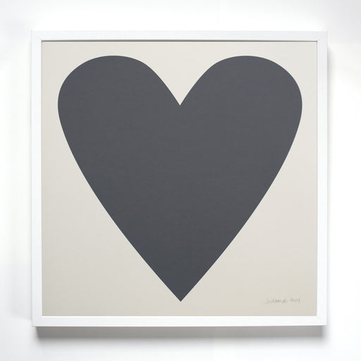 Soft Black Heart Screen Print on Dove Grey Paper