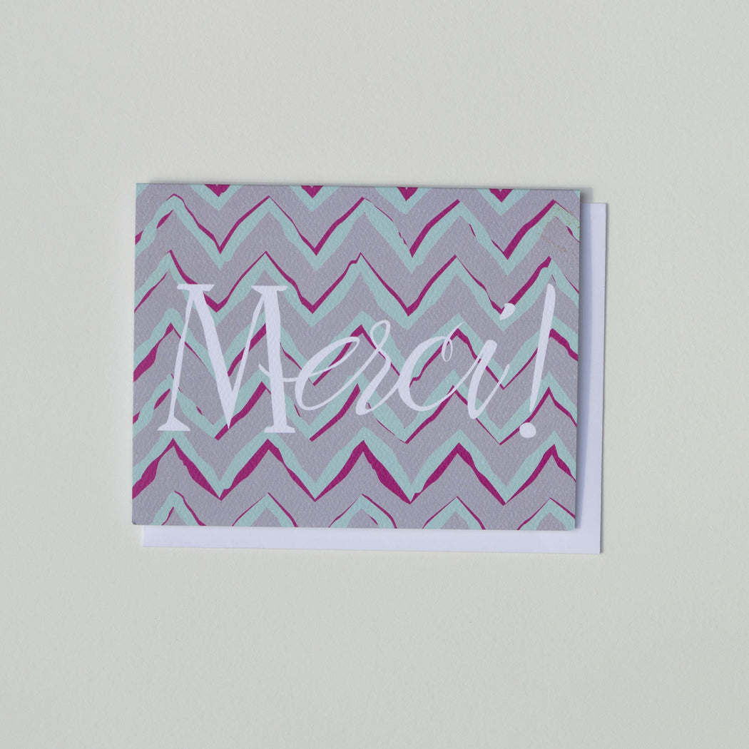 Merci - Chevrons - Thank you Card