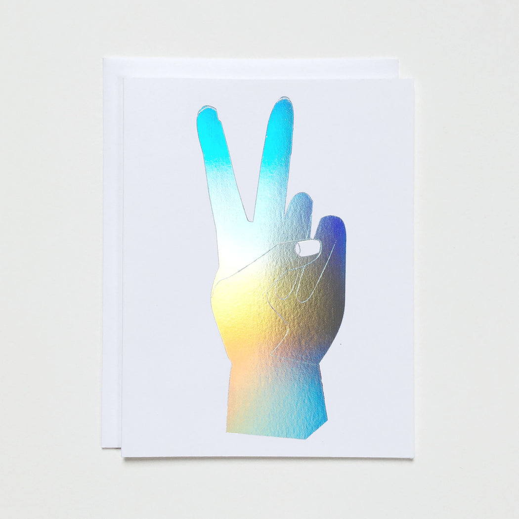 Peace Hand Hologram Note Card