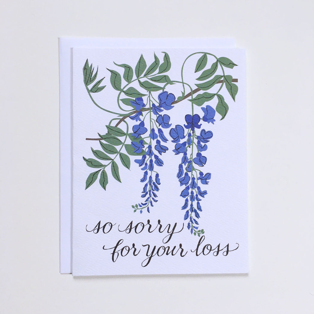 So Sorry For Your Loss Wisteria Condolence Note Card