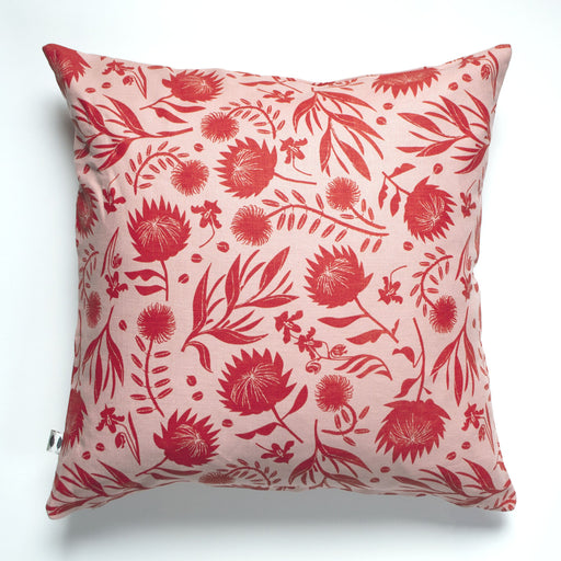 Blood Red on Blush all-Linen Pillow Cover