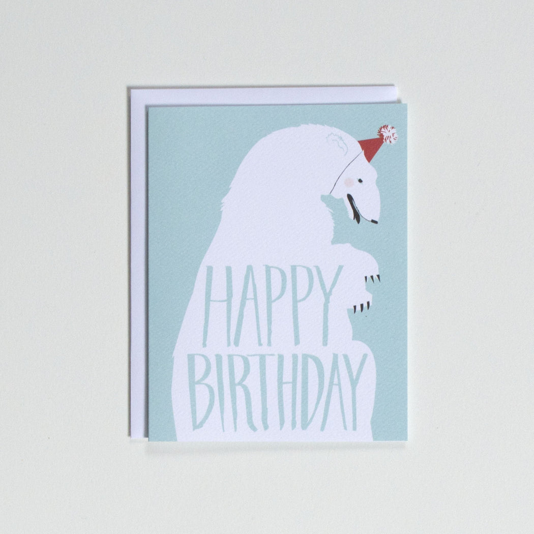 Happy Birthday - Polar Bear with Party Hat note card