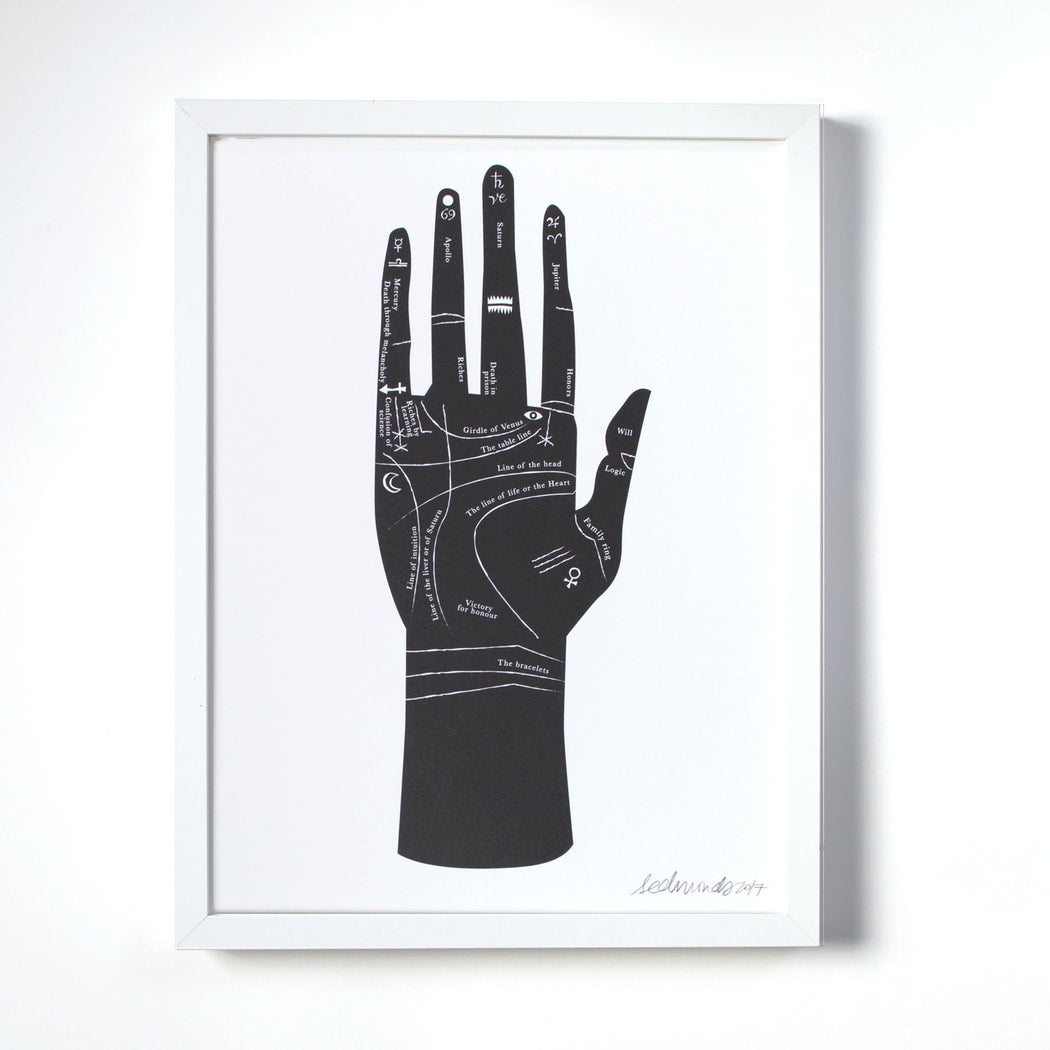 Palmistry Hand Art Print - Black and White Wall Art