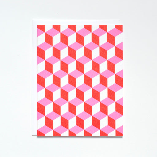 Pink and Red Geometrics Note Card