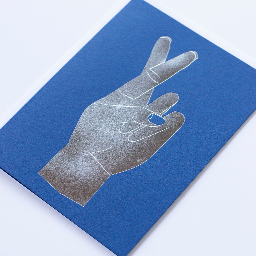 Fingers Crossed silver foil on Electric Blue Note Card