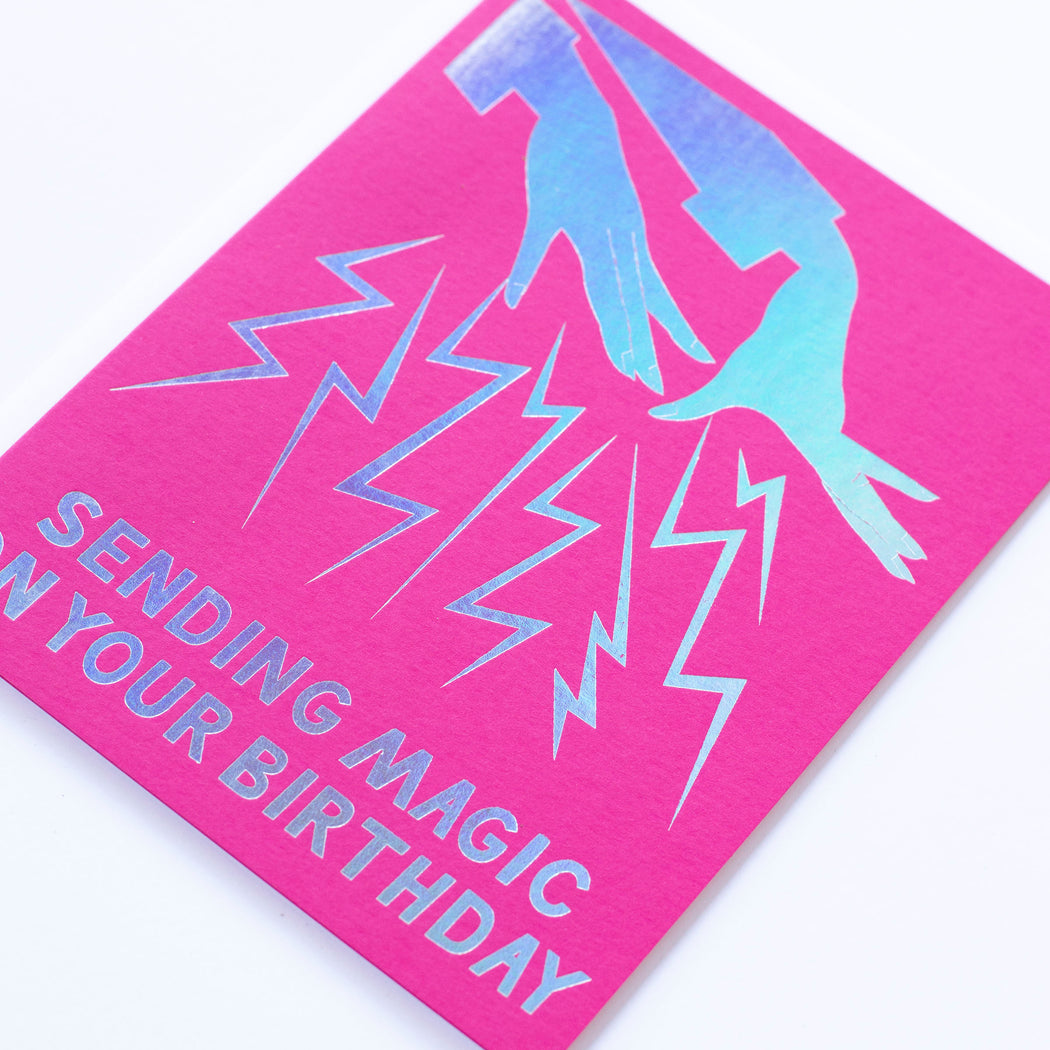Hologram Foil Magic Hands Birthday Note Card
