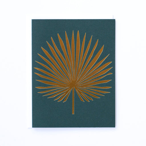 Gold foil Palm Leaf on Dark Green Note Card