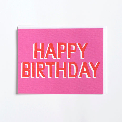 Bright and simply pink and red birthday card