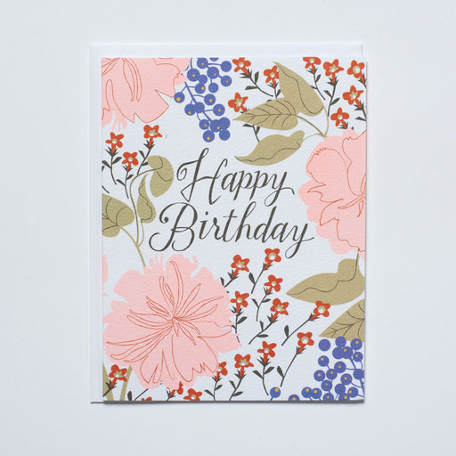 vintage florals note card, happy birthday card