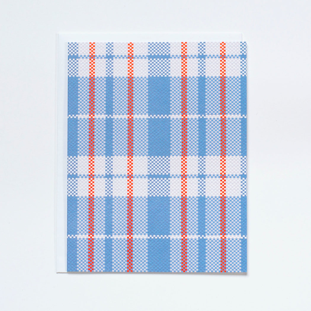 plaid shopper card, blank card