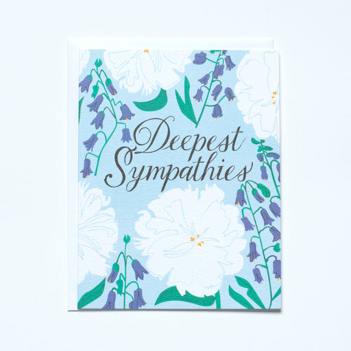 vintage floral, sympathy card, blue and white note card