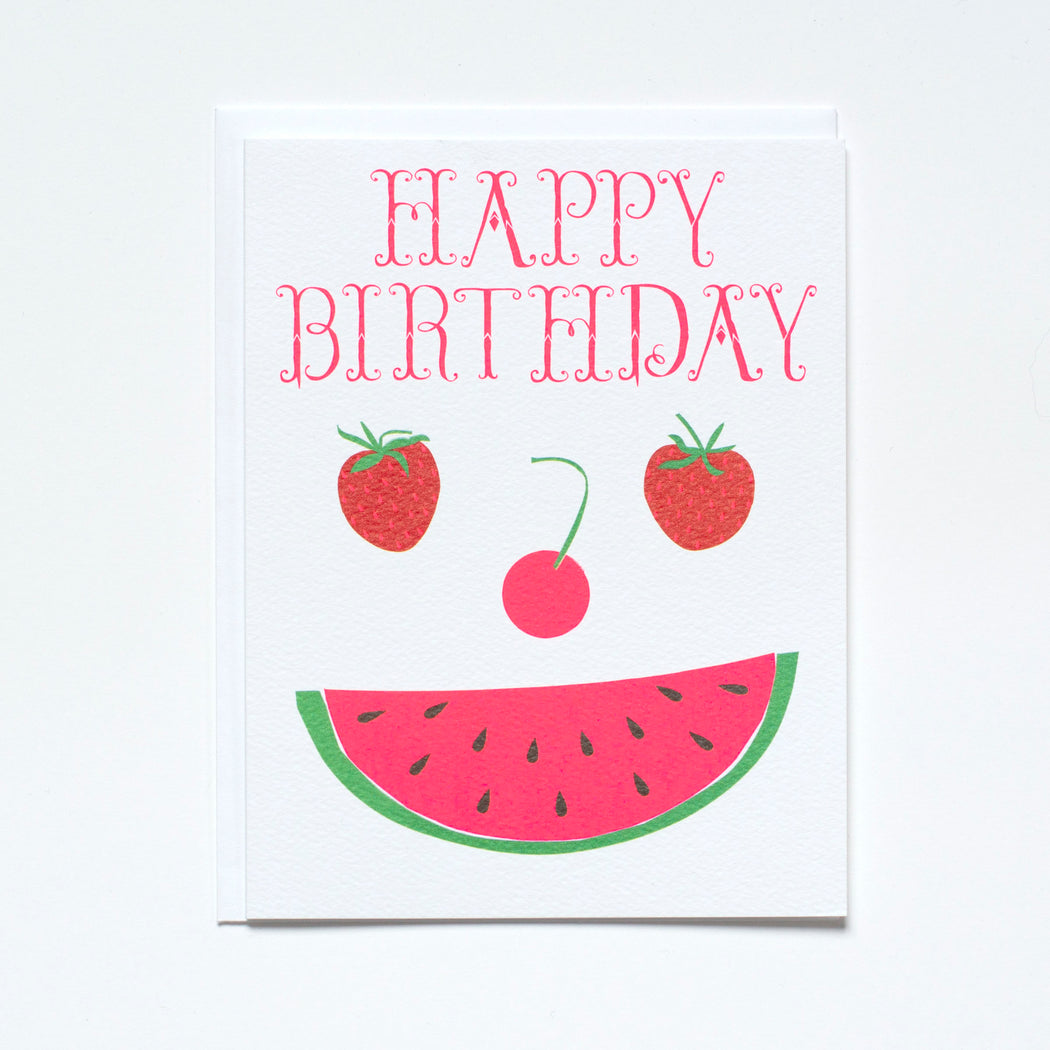 watermelon, cherry, strawberries, fruit face, birthday card