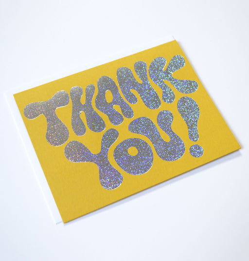 Glitter Hologram Foil Thank You Card