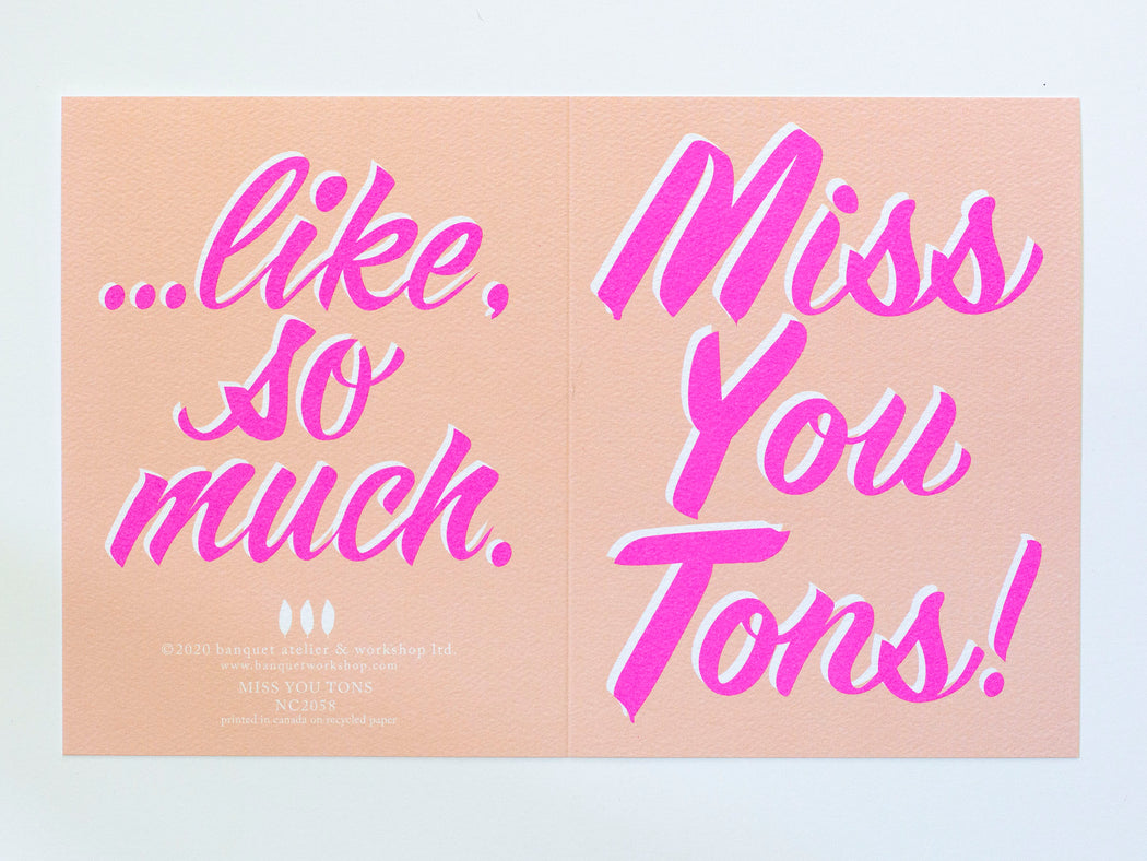 Miss You Tons - Note Card