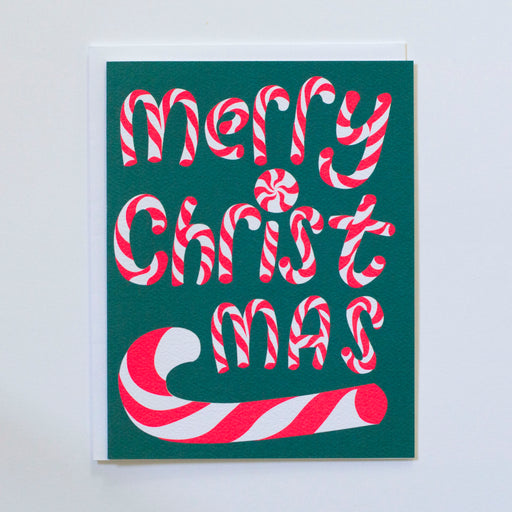 Neon Pink Merry Christmas Candy Canes Note Card